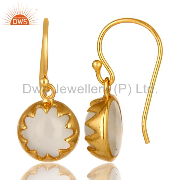 Suppliers 14K Yellow Gold Plated Sterling Silver White Moonstone Designer Drop Earrings
