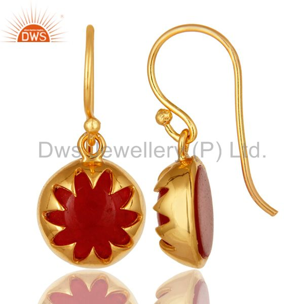 Suppliers 14K Yellow Gold Plated Sterling Silver Natural Red Aventurine Dangle Earrings