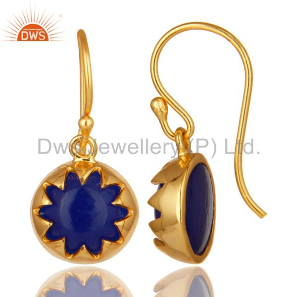 Suppliers 14K Yellow Gold Plated Sterling Silver Blue Aventurine Gemstone Drop Earrings