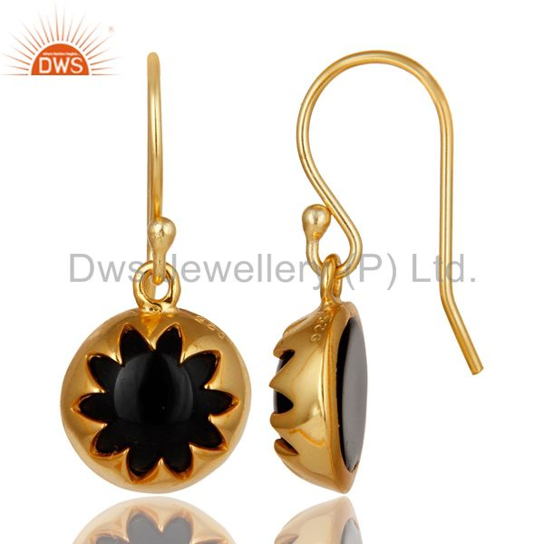 Suppliers 14K Yellow Gold Plated Sterling Silver Black Onyx Gemstone Dangle Earrings