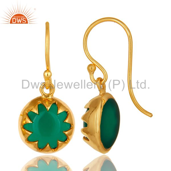 Suppliers 18K Yellow Gold Plated Sterling Silver Green Onyx Gemstone Drop Earrings