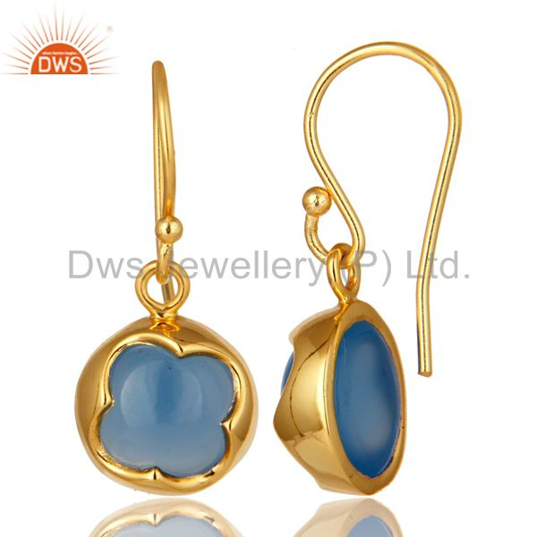 Suppliers 14K Yellow Gold Plated Sterling Silver Aqua Chalcedony Gemstone Drop Earrings
