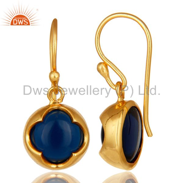 Suppliers 14K Yellow Gold Plated Sterling Silver Blue Sapphire Corundum Earrings
