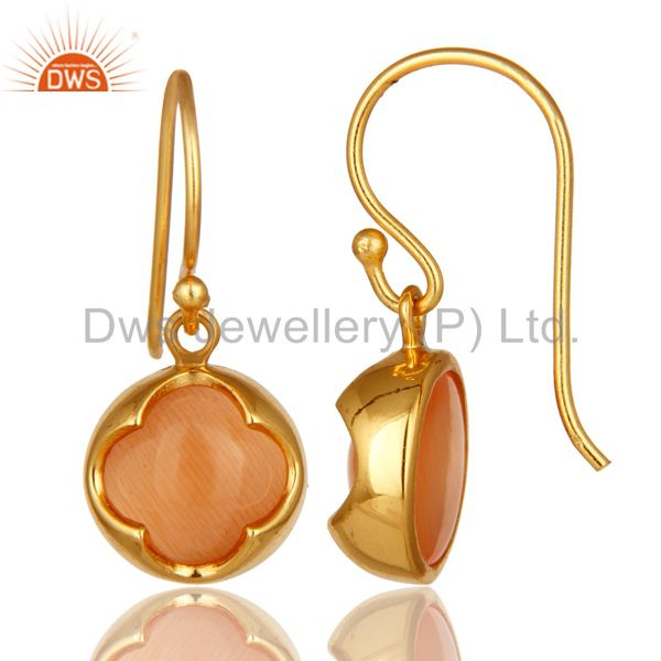 Suppliers 14K Yellow Gold Plated Sterling Silver Peach Moonstone Hook Dangle Earrings
