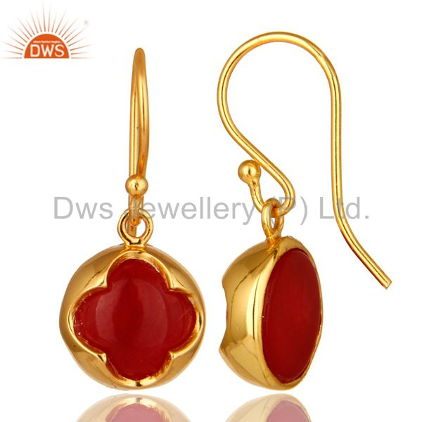 Suppliers Designer 18K Yellow Gold Plated Sterling Silver Red Aventurine Dangle Earrings