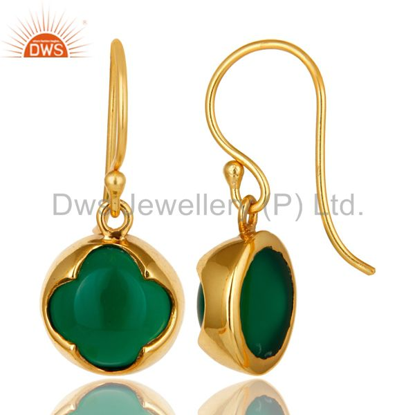 Suppliers 14K Yellow Gold Plated Sterling Silver Green Onyx Designer Dangle Earrings