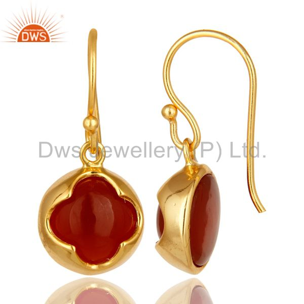 Suppliers 14K Yellow Gold Plated Sterling Silver Red Onyx Gemstone Designer Earrings