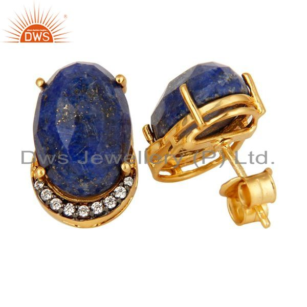 Suppliers Natural Lapis Lazuli Gemstone And CZ Sterling Silver Stud Earrings - Gold Plated