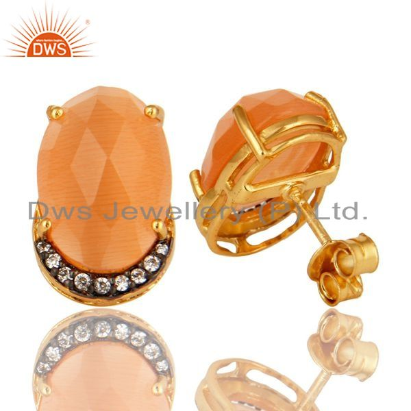 Suppliers 18K Gold Plated Sterling Silver Peach Moonstone And CZ Stud Earrings