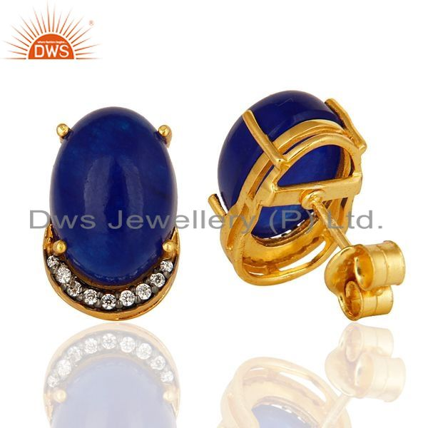 Suppliers 14K Yellow Gold Plated Sterling Silver Blue Aventurine Womens Stud Earrings With
