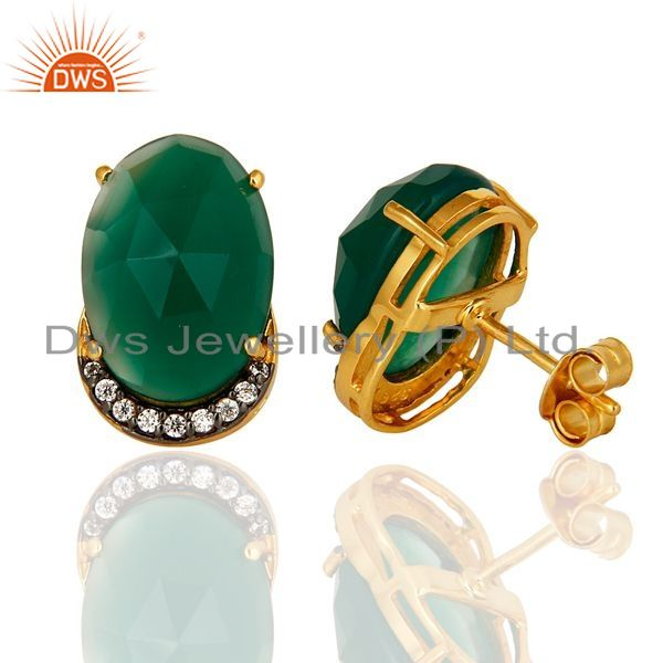 Suppliers 14K Yellow Gold Plated Sterling Silver Natural Green Onyx Stud Earrings With CZ