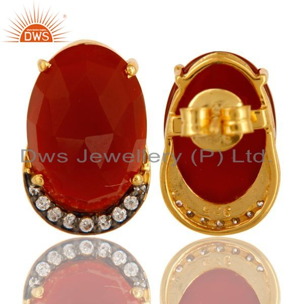 Suppliers 18K Gold Plated Sterling Silver CZ And Red Onyx Stud Earrings