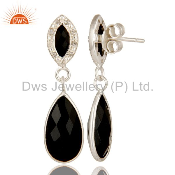 Suppliers 925 Sterling Silver Black Onyx Gemstone Dangle Earrings With White Topaz