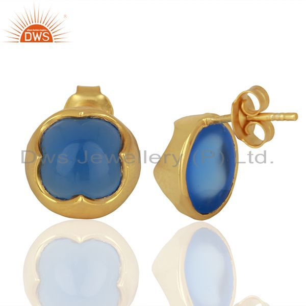 Suppliers Blue Chalcedony Studs 18K Gold Plated 925 Sterling Silver Mini Earrings Jewelry