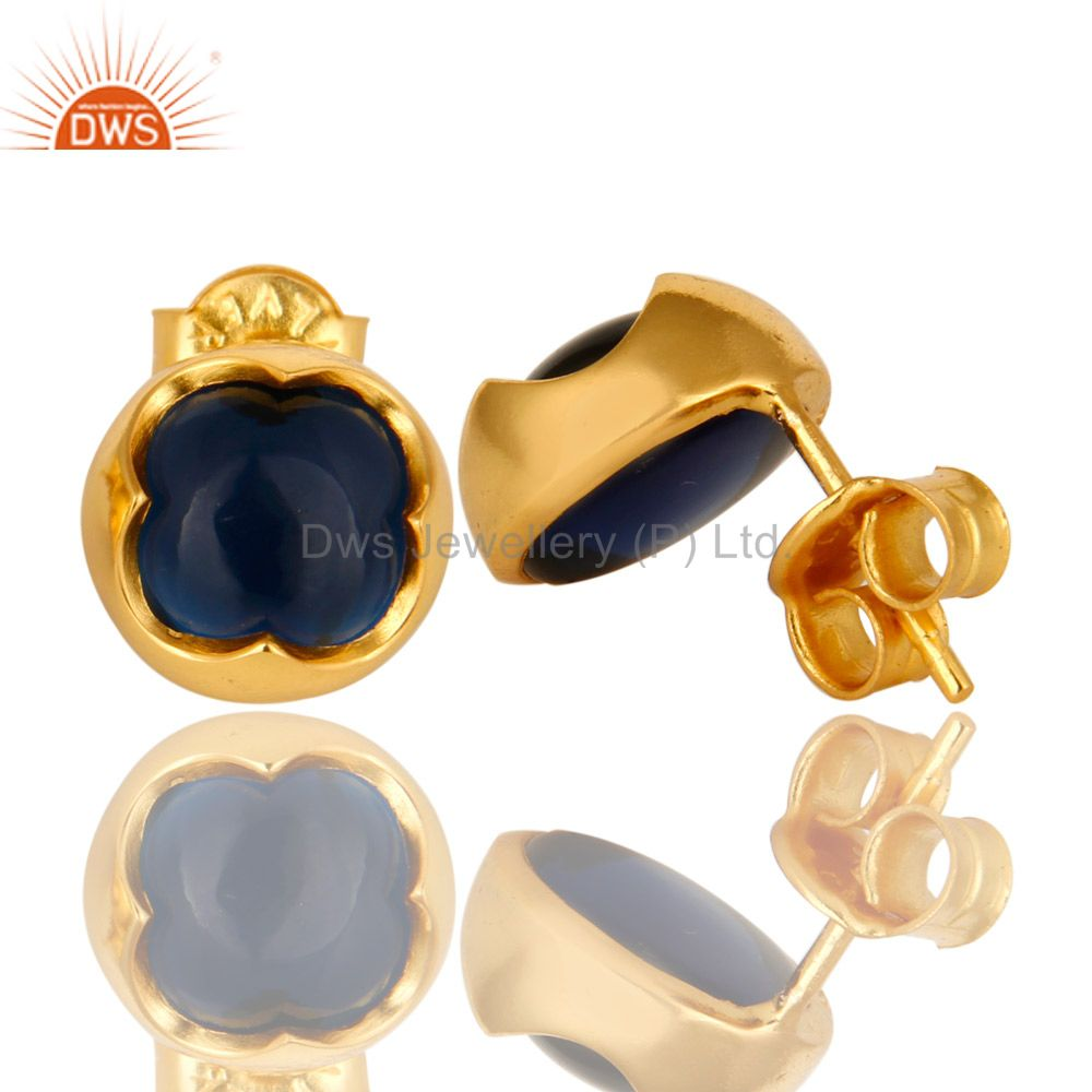 Suppliers 14K Yellow Gold Plated Sterling Silver Blue Corundum Womens Stud Earrings