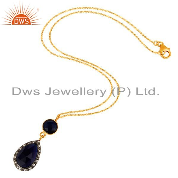 Suppliers Blue Corundum And CZ Gold Plated Sterling Silver Pendant With 16