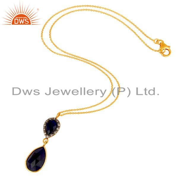Suppliers Sapphire Blue Corundum Teardrop Pendant Necklace In 18K Gold On Sterling Silver