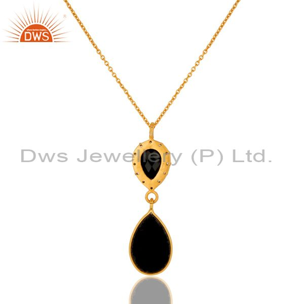 Suppliers 925 Sterling Silver Natural Black Onyx Pendant Necklace - Yellow Gold Plated