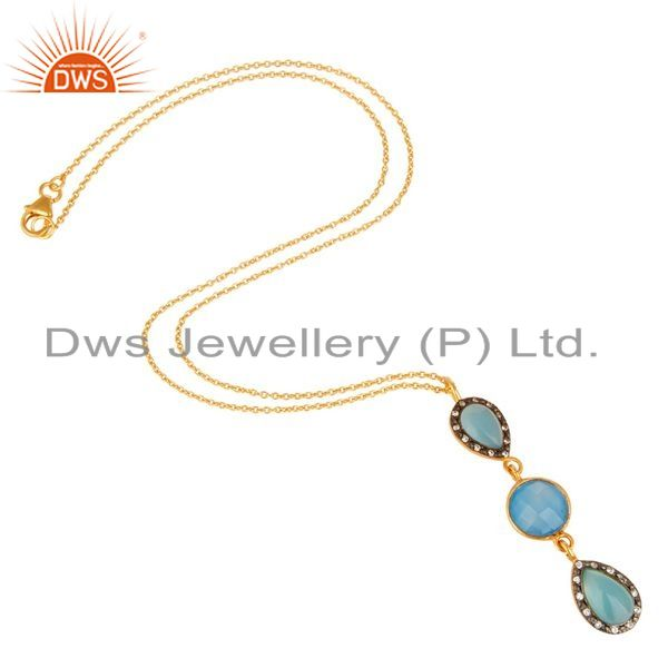 Suppliers 14K Yellow Gold Plated Sterling Silver CZ And Blue Chalcedony Pendant With Chain