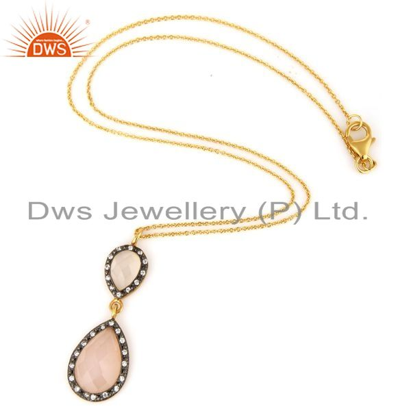 Suppliers 18K Gold Plated Sterling Silver Rose Chalcedony Pendant Necklace