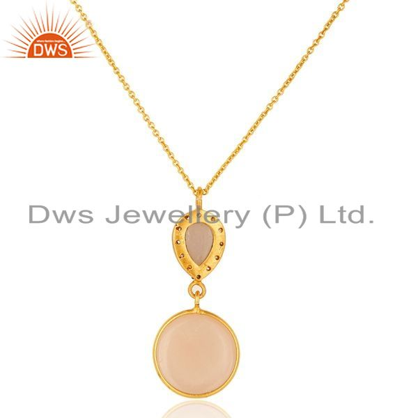 Suppliers 18K Yellow Gold Plated Sterling Silver Rose Chalcedony Drop Pendant With Chain