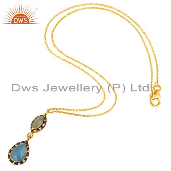 Suppliers 18K Gold Plated Sterling Silver Aqua Chalcedony Gemstone Pendant With Chain