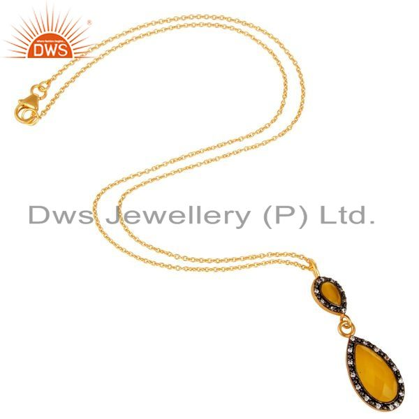 Suppliers 18K Gold Plated Sterling Silver Yellow Moonstone And CZ Drop Pendant With Chain