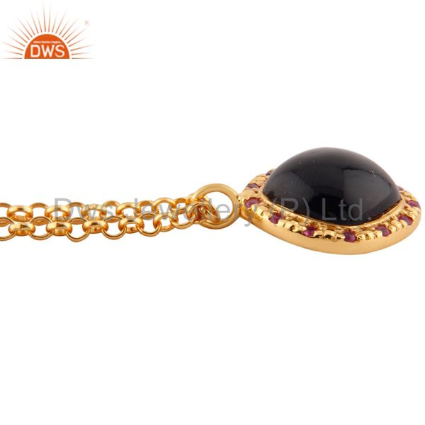 Suppliers Real Ruby Gemstone 925 Sterling SIlver Black Onyx Pendant 18k Gold Plated 16