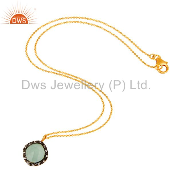 Suppliers Gold Plated Sterling Silver Aqua Glass & Cubic Zirconia Fashion Pendant Neckla