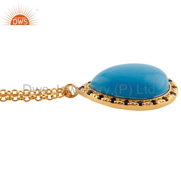 Suppliers Blue Sapphire 18 karat Gold Plated Turquoise 925 Silver Pendant Necklace