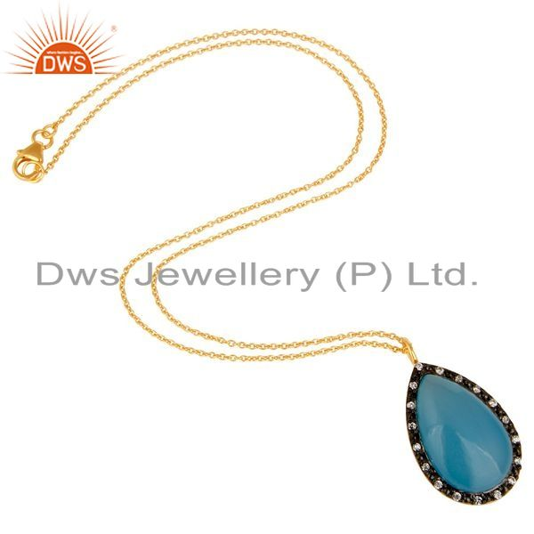 Suppliers 18K Gold Plated Sterling Silver Blue Chalcedony And CZ Drop Pendant With Chain