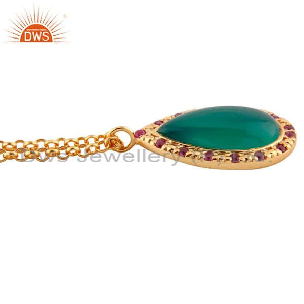 Suppliers 925 Silver Ruby Gemstone Drop 24k Gold Plated Green Onyx Pendant charm 16
