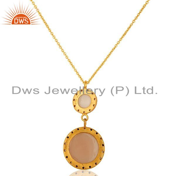 Suppliers 18K Gold Plated Sterling Silver Rose Chalcedony And CZ Drop Pendant With Chain