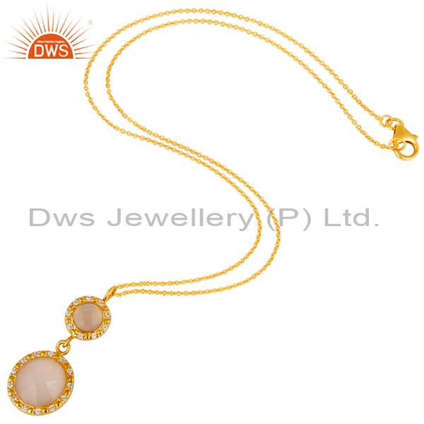 Suppliers 18K Gold Plated Sterling Silver Rose Chalcedony & CZ Drop Pendant With Chain