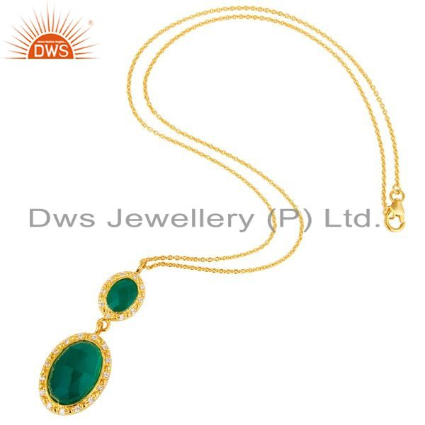 Suppliers 18K Yellow Gold Plated Sterling Silver Green Onyx & CZ Drop Pendant With Chain