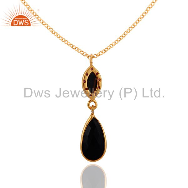 Suppliers 925 Sterling SIlver Black Onyx & Ruby Gemstone Pendant With Gold Plated Chain