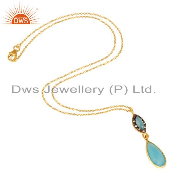 Suppliers 18K Gold Plated Sterling Silver Aqua Chalcedony And CZ Drop Pendant With Chain