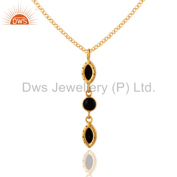 Suppliers Black Onyx & White Topaz Gemstone Pendant In Gold Plated Over Sterling Silver