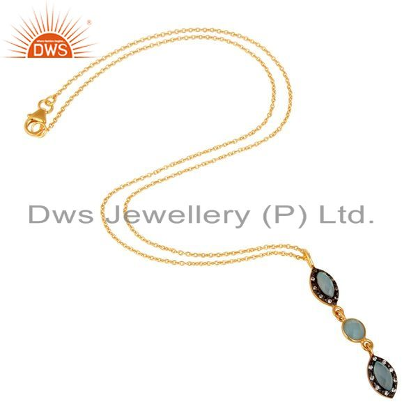 Suppliers Blue Chalcedony and CZ Gemstone Pendant In Gold Plated Over Sterling Silver