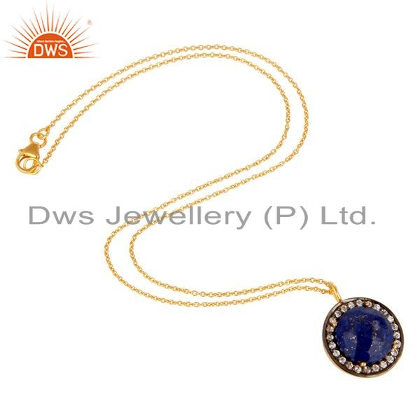 Suppliers 14K Yellow Gold Plated Sterling Silver CZ And Lapis Lazuli Pendant With Chain
