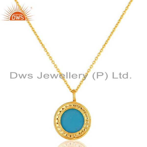 Suppliers 18K Yellow Gold Plated Sterling Silver Turquoise And CZ Pendant With 16