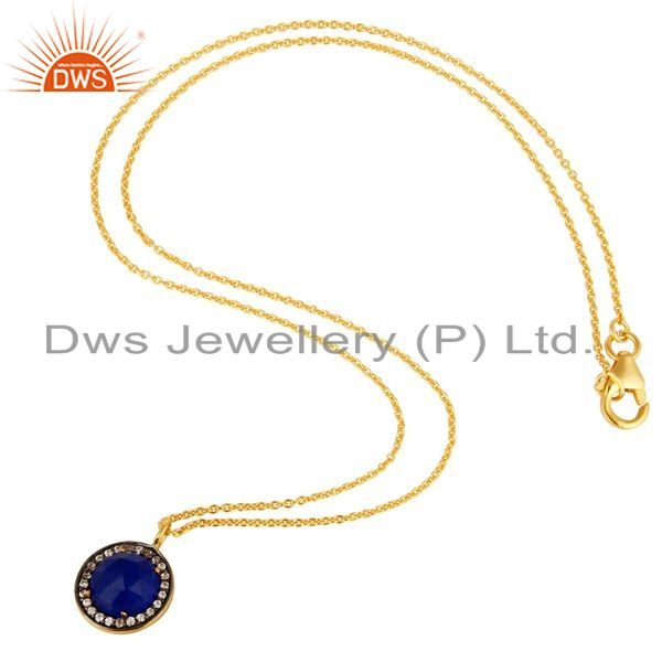 Suppliers 14K Yellow Gold Plated Sterling Silver Blue Aventurine And CZ Pendant With Chain