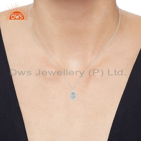 Suppliers Genuine Crystal Quartz and White Topaz 92.5 Sterling Silver Pendant