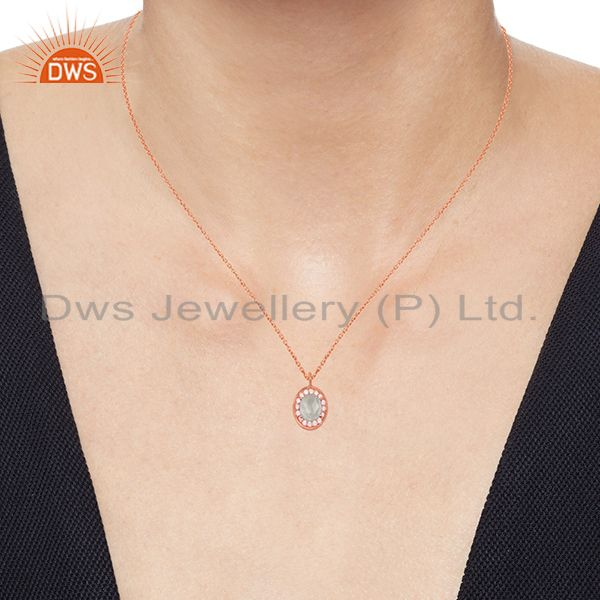 Suppliers Multi Gemstone 925 Silver Rose Gold Plated Pendant Wholesale