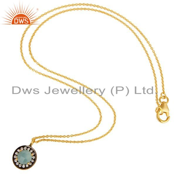 Suppliers 18K Yellow Gold Plated Sterling Silver Blue Chalcedony And CZ Pendant With Chain