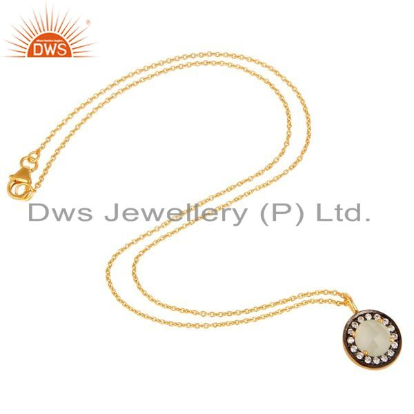 Suppliers 18K Gold Plated Sterling Silver White Moonstone And CZ Drop Pendant With Chain