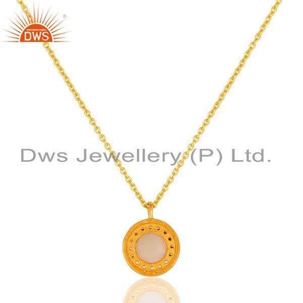 Suppliers 18K Gold Plated Sterling Silver Rose Chalcedony And CZ Pendant With 16