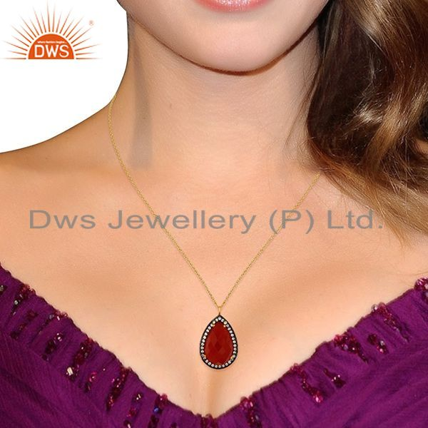 Suppliers 18K Gold Plated Sterling Silver Natural Red Onyx Gemstone Drop Pendant With CZ