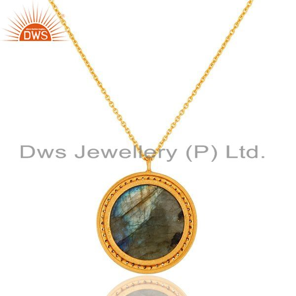 Suppliers 18K Gold Plated Sterling Silver Natural labradorite Gemstone Pendant With Chain