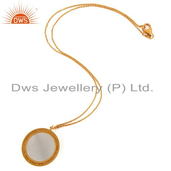 Suppliers 925 Sterling Silver White Moonstone 18K Gold Plated Pendant With Chain